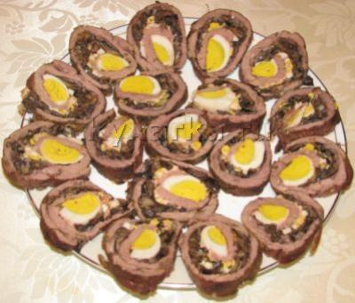 Мясной рулет с яйцом и грибами