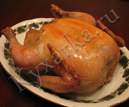 Запеченная курица с предварительной сухой засолкой