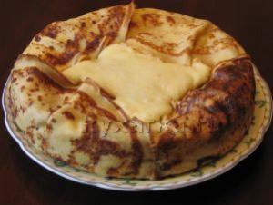 Творожно-манный пирог в блинчиках