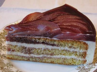 Торт с винными грушами